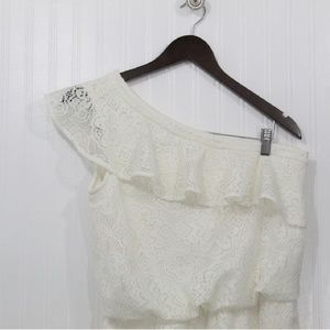London Times Ivory One Shoulder Lace Ruffle Dress